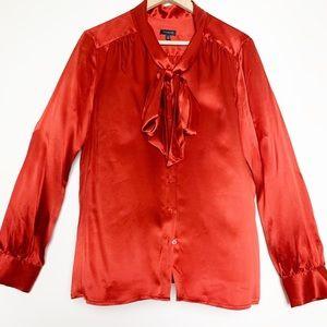 Talbots Silk Crimson Bow Tie Blouse